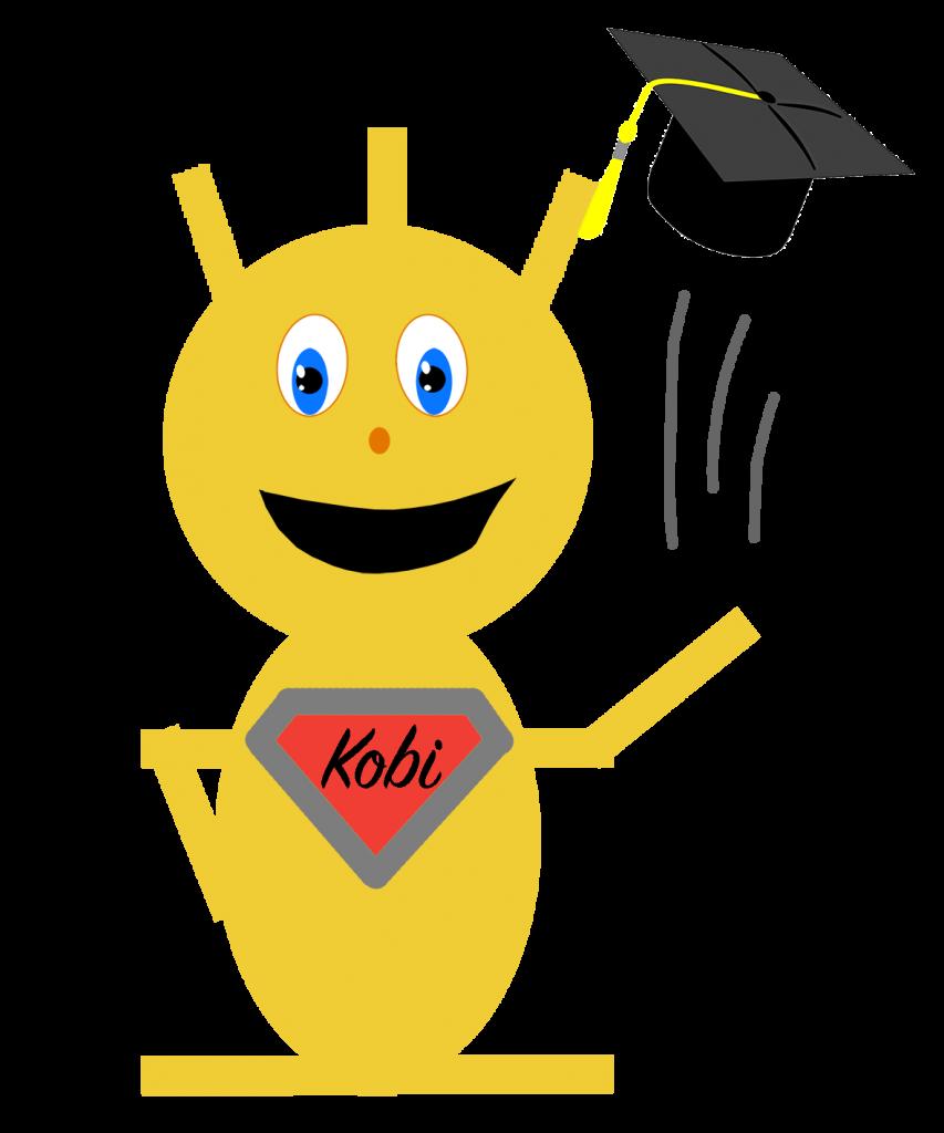 Kobi mit Bachelor-Mütze
