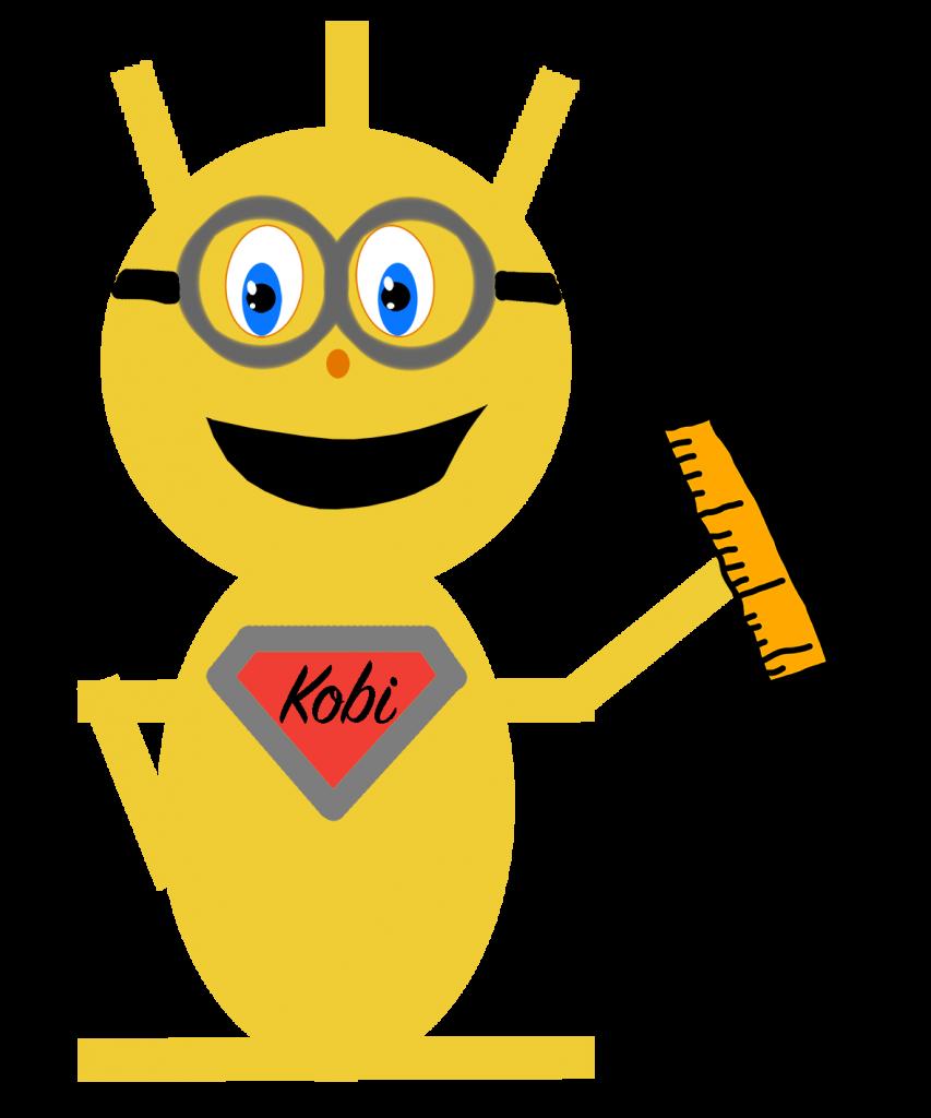 Kobi mit Brille und Lineal