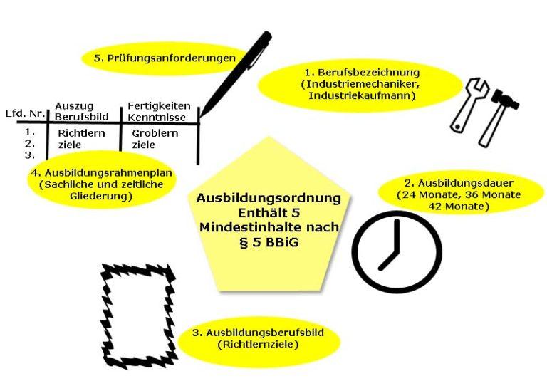 Bildlich dargestellte Mindestinhalte der Ausbildungsordnung