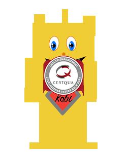 Kobi hält das ZertQua AZAV Symbol Zertifikat in die höhe.